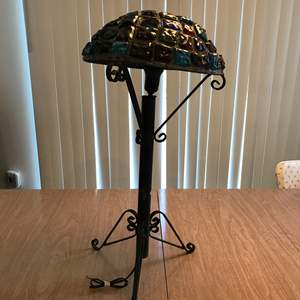 """Lot # 211 - Vintage Mid-Century Brutalist Nader/Peter Marsh Chunk Glass Table Lamp (Roughly 24.25""""Tall)"""