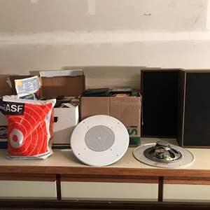 Lot # 223 - Boxes Full Of Cassette Tapes & 2 Panasonic Speakers