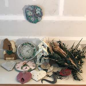 Lot # 228 - Lot Of Outdoor Decorations: Bird House, Clock, Faux Plants
