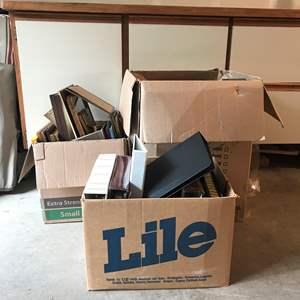 Lot # 230 - 3 Boxes Full Of Scrap Books & Picture Frames