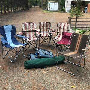 Lot # 232 - Lot Of Lawn Chairs & New Camp Cot