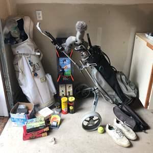Lot # 233 - Golf Bags, Clubs, Golf Balls, Tennis Balls & More