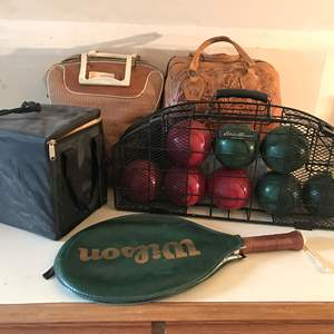 Lot # 234 - Bocce Ball Set, 2 Bowling Balls w/Bags