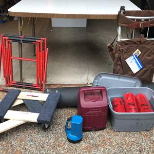 Lot # 235 - Foldable Fire Escape Ladder, 2 Small Movers Dollies, Coleman Propane Lantern, The Astral Backpack & More