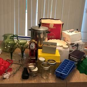 Lot # 192 - Ice-cream Maker, Plastic Items, Napkins, Recipe Boxes & More