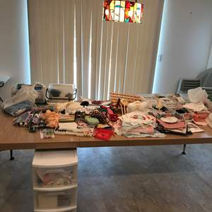 Lot # 246 - Large Lot Of Sewing Items: Finishing's, Buttons, Knitting Needles Of Various Sizes & More
