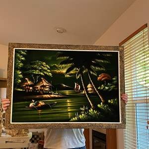 """Lot # 4 - Awesome Original Painting on Felt from the Philippines by Lina Aizcarra-Oan Dasan - (39"""" x 27.5"""")"""