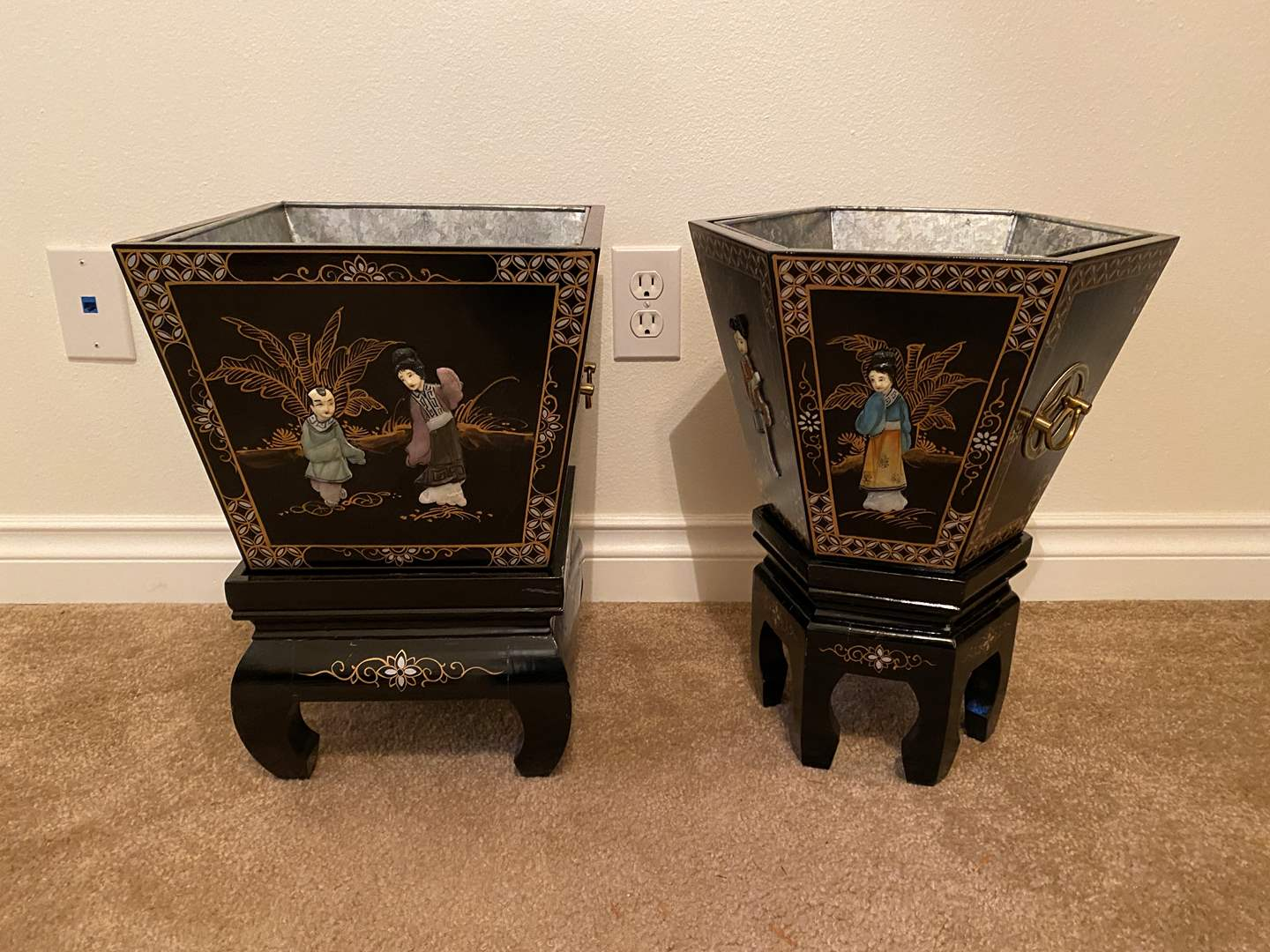 Lot # 5 - Two Ornate 3-D Asian Planters on Stands (main image)