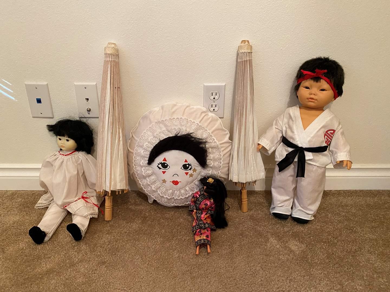 Lot # 9 - Asian Dolls, Umbrellas, & Pillow (main image)