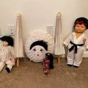 Lot # 9 - Asian Dolls, Umbrellas, & Pillow