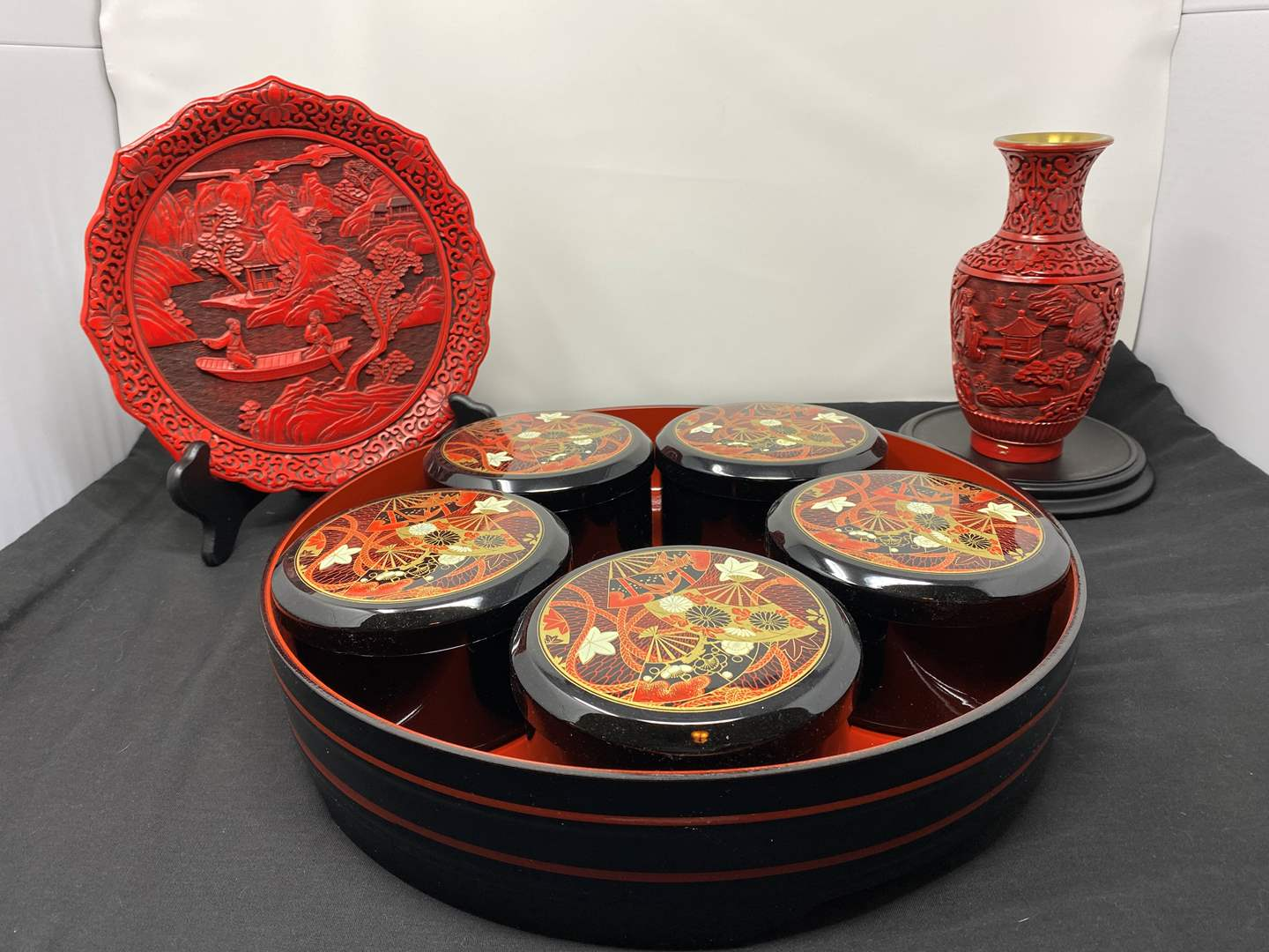 Lot # 12 - Asian Tray, Ornate Red Brass Vase, Ornate Red Plate (main image)