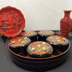 Lot # 12 - Asian Tray, Ornate Red Brass Vase, Ornate Red Plate