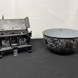 Lot # 13 - Ornate Soapstone? Asian Incense Burner & Bowl