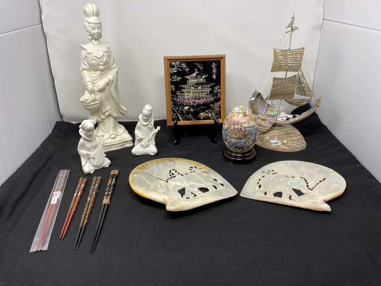 Lot # 14 - Carved Elephant Abalone Shells, Abalone Shell Ship, Hand Painted Satsuma Egg, Ardco Asian Figurines & More (main image)