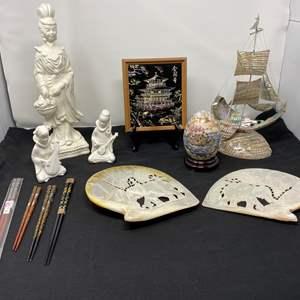 Lot # 14 - Carved Elephant Abalone Shells, Abalone Shell Ship, Hand Painted Satsuma Egg, Ardco Asian Figurines & More