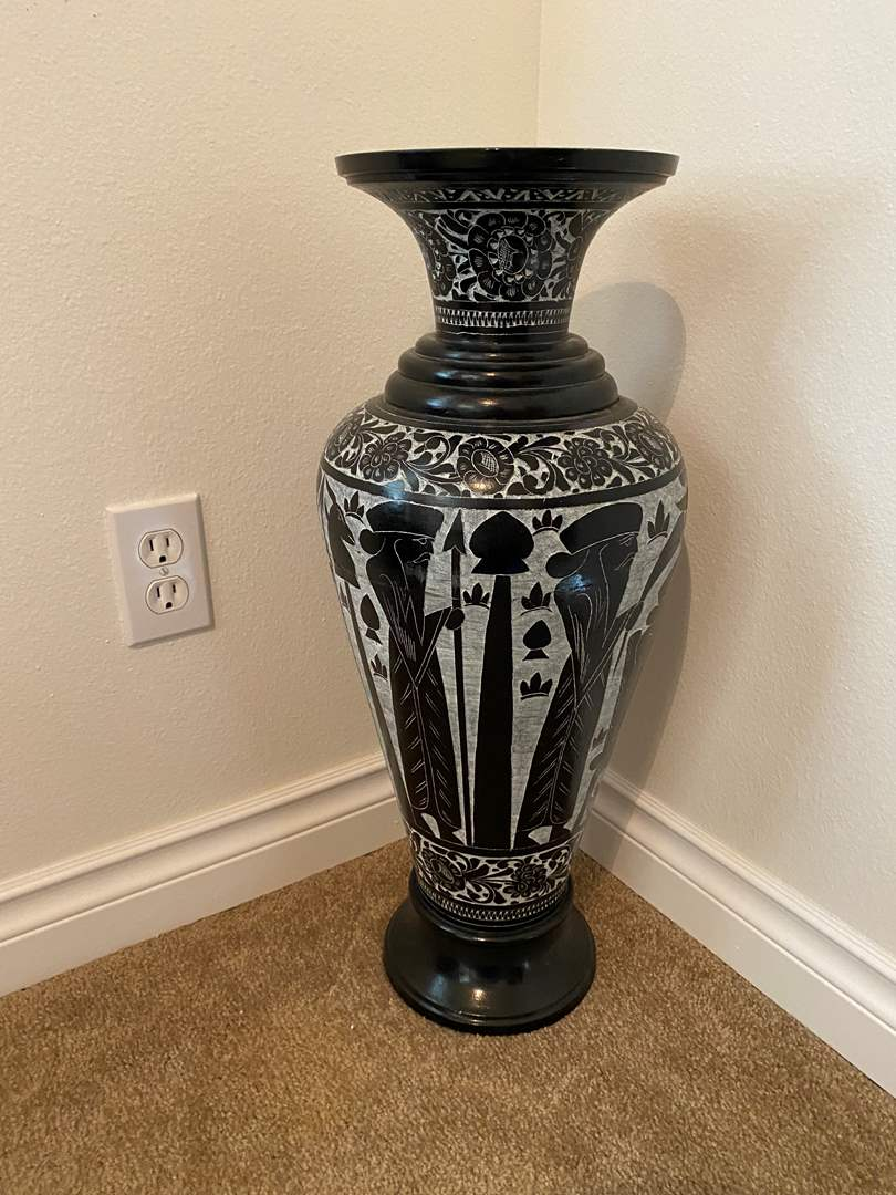 "Lot # 15 - Tall Ornate Soapstone Urn - (24""tall) (main image)"
