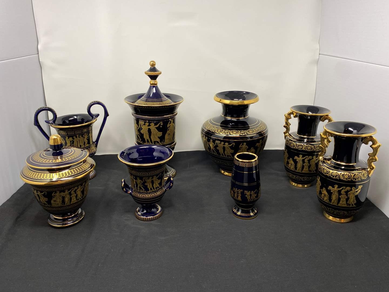 Lot # 18 - Ten Piece Set of 24k Gold Painted Grecian Ceramics (main image)