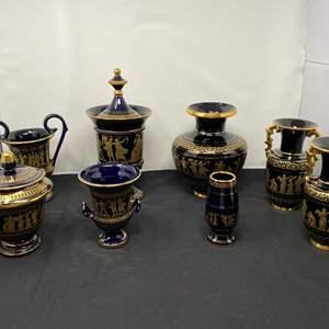 Lot # 18 - Ten Piece Set of 24k Gold Painted Grecian Ceramics