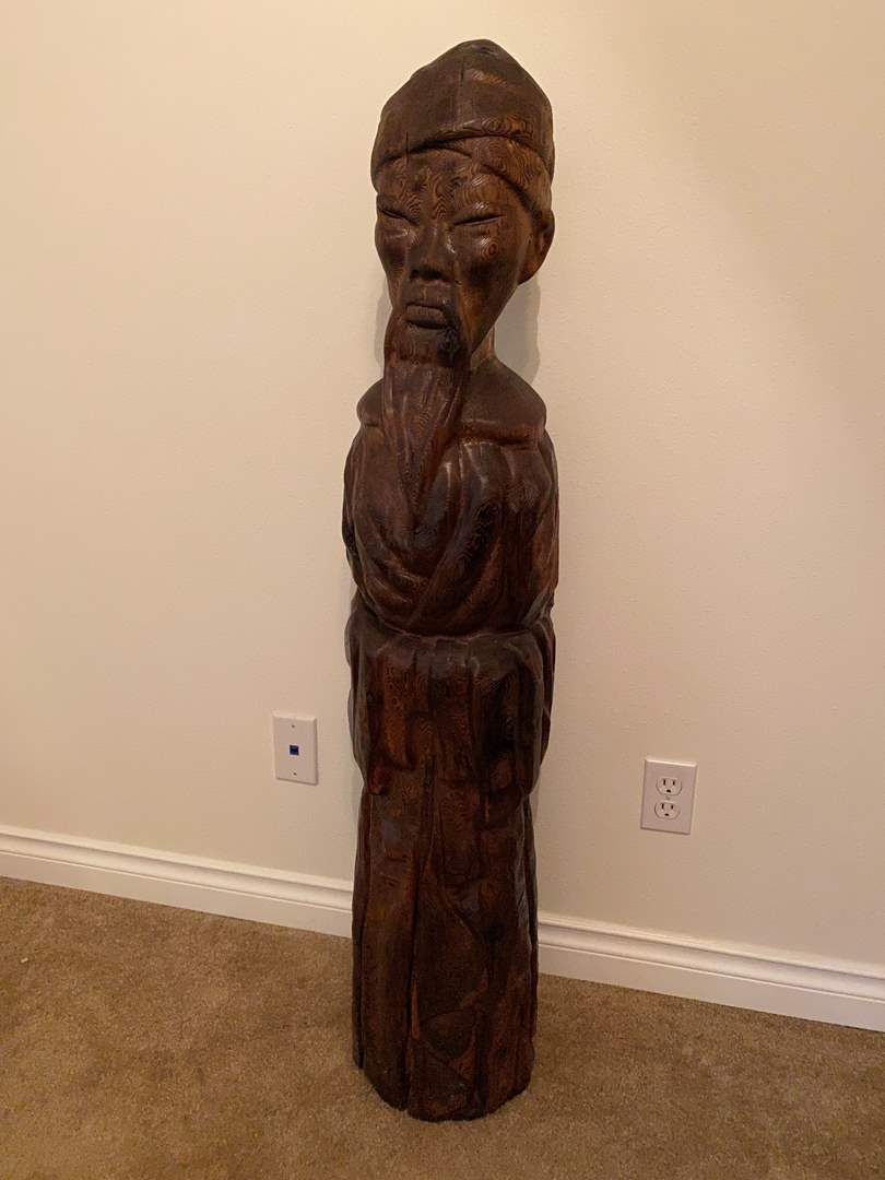 Lot # 20 - Awesome 4' Tall Hand Carved Wood Asian Statue (main image)