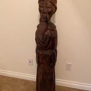 Lot # 20 - Awesome 4' Tall Hand Carved Wood Asian Statue