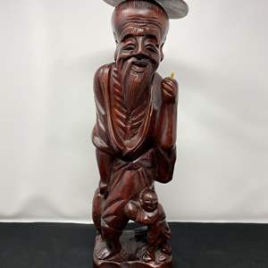 """Lot # 21 - Hand Carved Wood Asian Figurine - (18"""" tall)"""