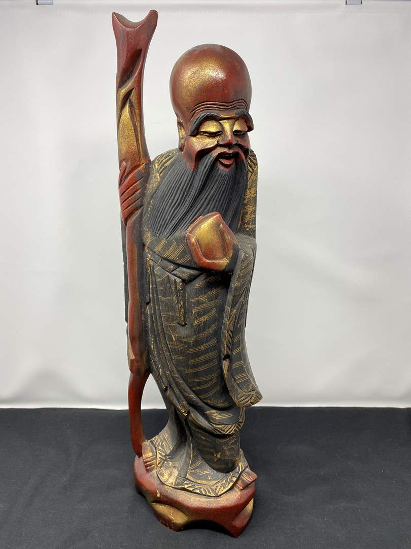 """Lot # 22 - Hand Carved Wood Asian Figurine - (19"""" tall) (main image)"""