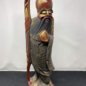 """Lot # 22 - Hand Carved Wood Asian Figurine - (19"""" tall)"""