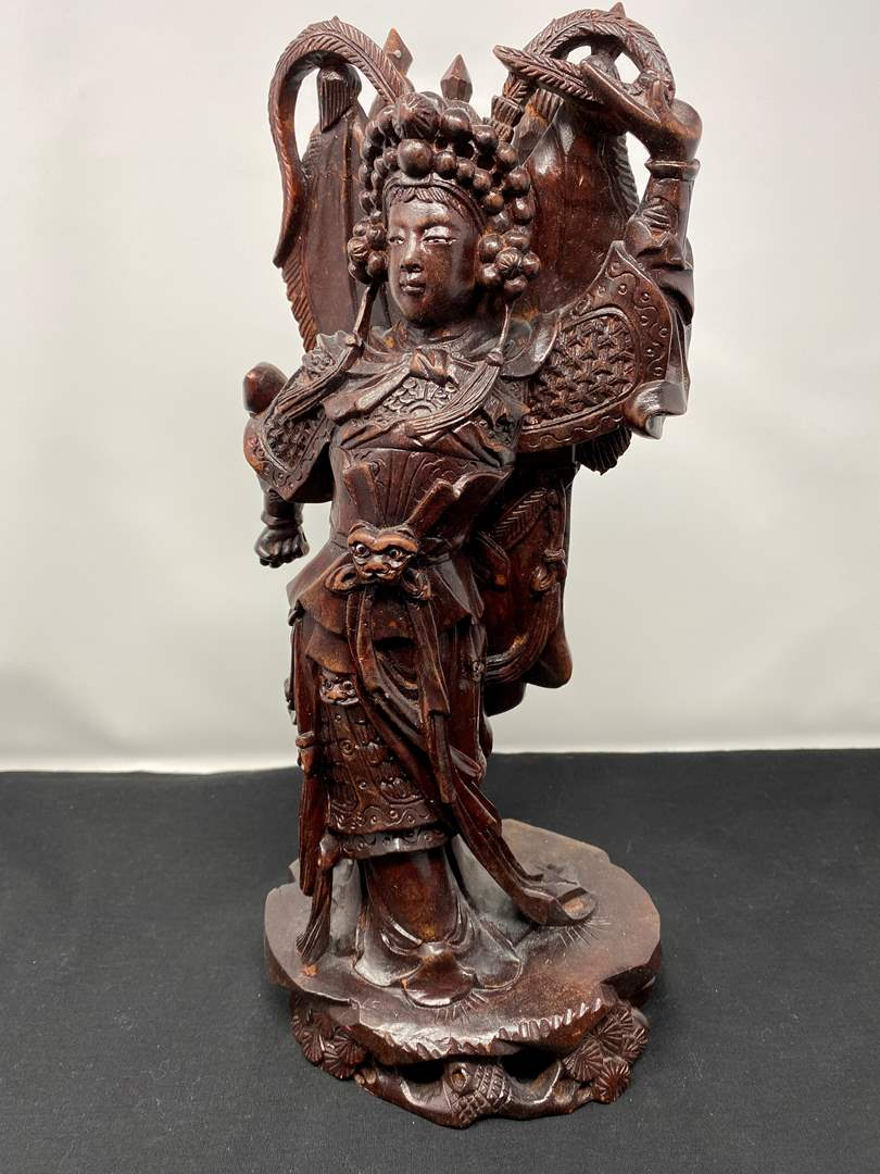 """Lot # 23 - Hand Carved Wood Asian Figurine - (14"""" tall) (main image)"""