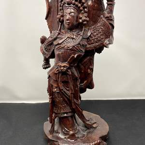 """Lot # 23 - Hand Carved Wood Asian Figurine - (14"""" tall)"""