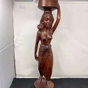 "Lot # 24 - Tall Wood Carving Signed Siwa Bali - (23"" tall)"