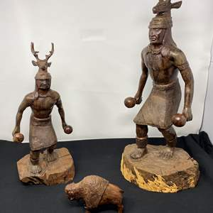 Lot # 27 - Two Amazing Hand Carved Wood Native American Statues, Wood Bison