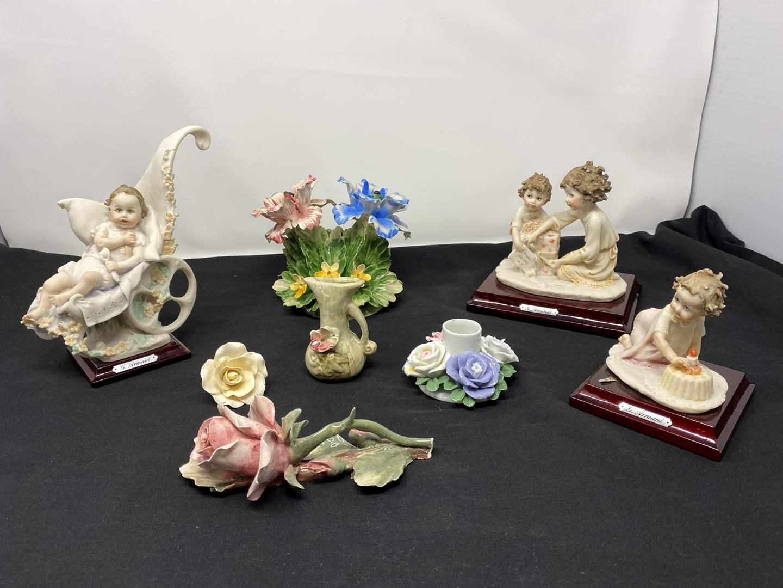 Lot # 32 - Signed G. Armani Capodimante Figurines, Capodimante Flowers, & Other Porcelain Items (main image)