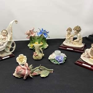 Lot # 32 - Signed G. Armani Capodimante Figurines, Capodimante Flowers, & Other Porcelain Items