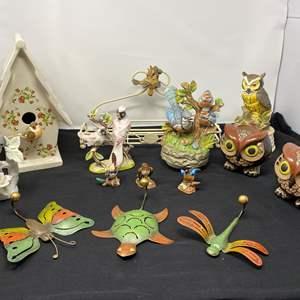 Lot # 33 - Collection of Ceramic & Porcelain Birds, Metal Rack, Ceramic Birdhouse, Owl Candle Holder, & Musical Birds