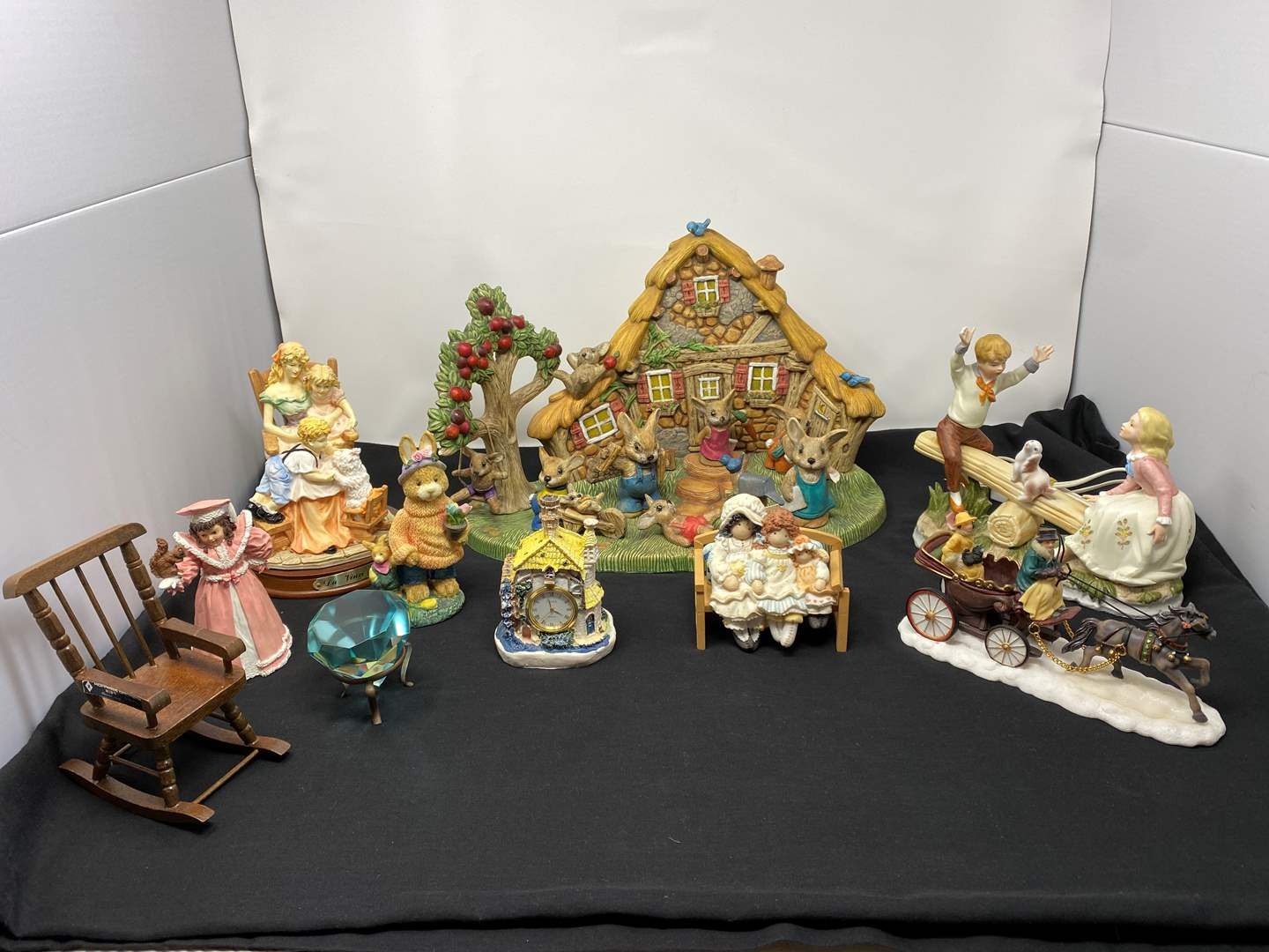 Lot # 35 - Collection of Misc. Figurines w/ Large Glass Diamond (main image)