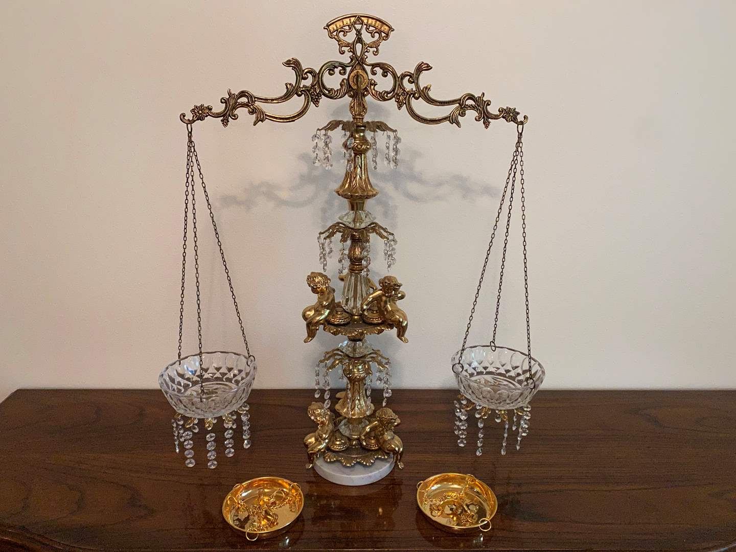 """Lot # 40 - Tall Vintage Brass & Crystal Tipping Scale (L&LWMC 1971 - 30"""" tall) (main image)"""