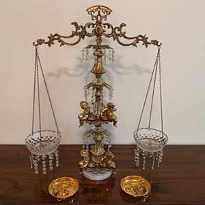 "Lot # 40 - Tall Vintage Brass & Crystal Tipping Scale (L&LWMC 1971 - 30"" tall)"