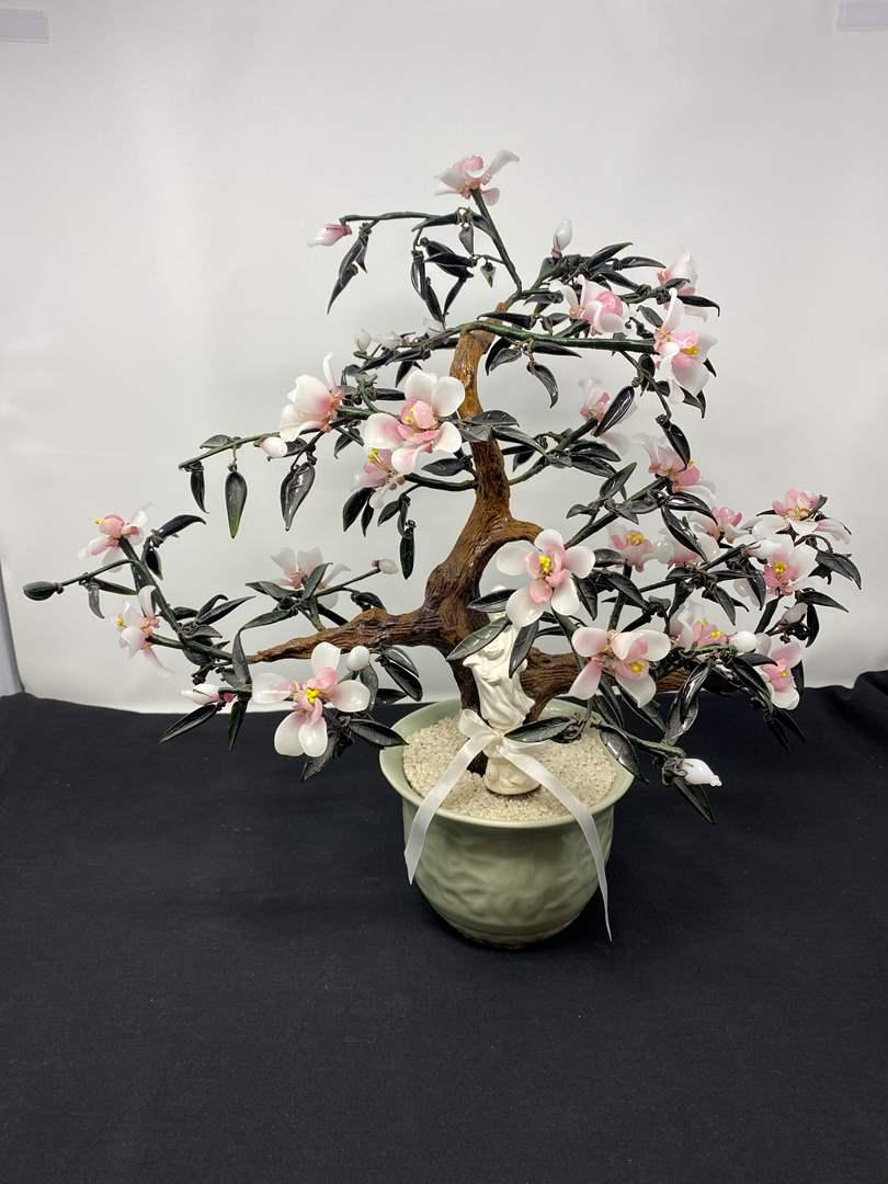 "Lot # 42 - Beautiful Jade/Glass Bonsai Tree - (17"" tall) (main image)"