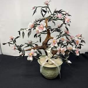 """Lot # 42 - Beautiful Jade/Glass Bonsai Tree - (17"""" tall)"""