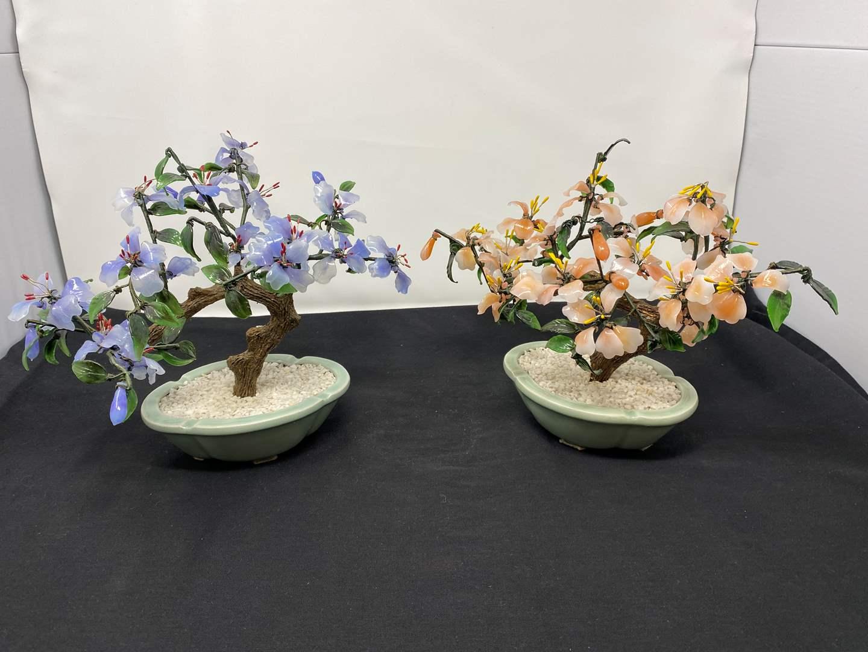 "Lot # 43 - Two Beautiful Jade/Glass Bonsai Trees - (9"" tall) (main image)"