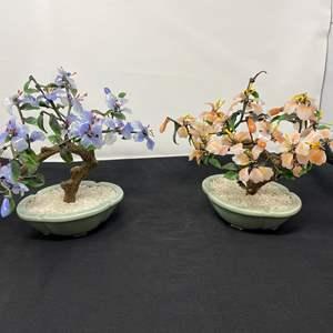 """Lot # 43 - Two Beautiful Jade/Glass Bonsai Trees - (9"""" tall)"""