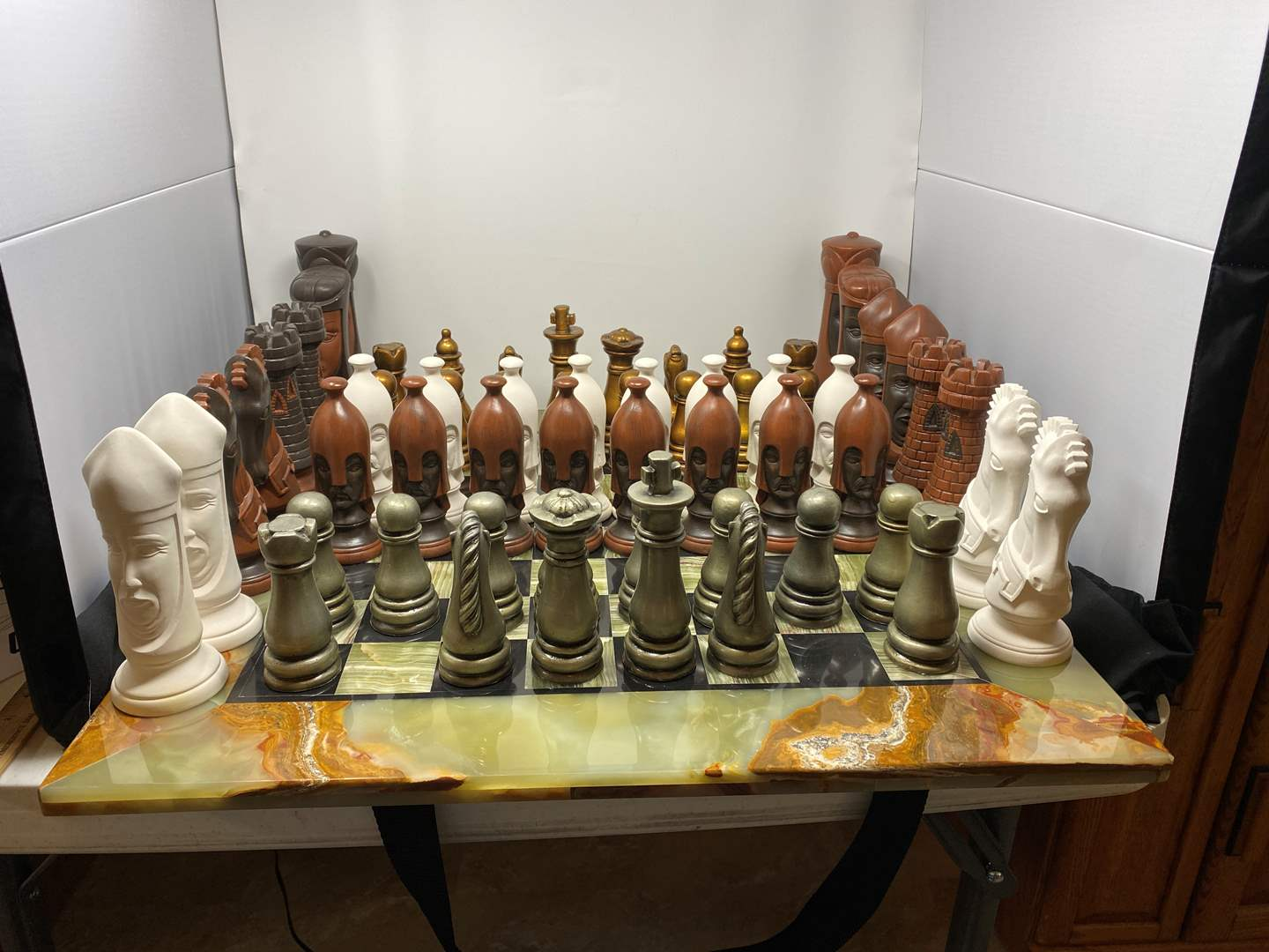Lot # 44 - Large Jade/Marble Chess Board w/ Two Sets of Pieces (main image)