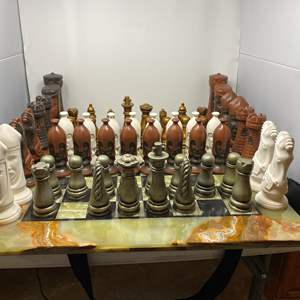 Lot # 44 - Large Jade/Marble Chess Board w/ Two Sets of Pieces