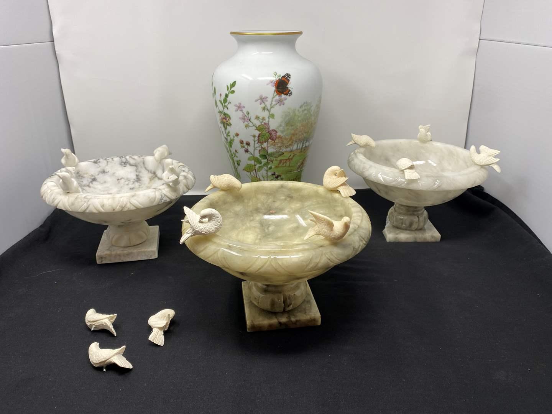 "Lot # 46 - Three Smaller Alabaster Birdbaths, ""Franklin"" Porcelain Vase (main image)"