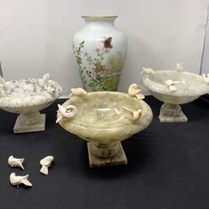 "Lot # 46 - Three Smaller Alabaster Birdbaths, ""Franklin"" Porcelain Vase"