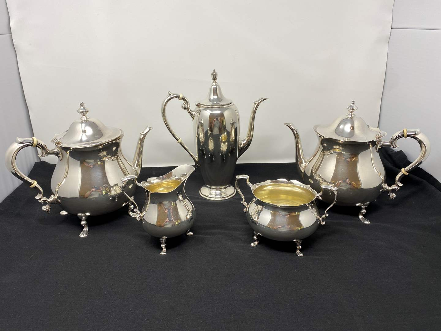 Lot # 48 - Five Piece Poole & Gorham Sterling Silver Tea Serving Set - (Total Weight - 2,460 Grams) (main image)