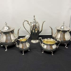 Lot # 48 - Five Piece Poole & Gorham Sterling Silver Tea Serving Set - (Total Weight - 2,460 Grams)