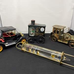 Lot # 49 - Glass Thermometer Float, Metal Car Music Box, Full Vintage Jim Beam Decanter, Plastic Batt. Operated Old Timer Car