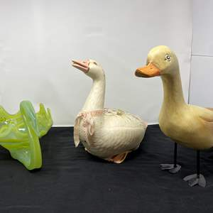 Lot # 103 - Hand Blown Glass Goose, Wood Duck, Ceramic Goose