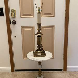 Lot # 108 - Vintage Brass & Marble Table w/ Tall Brass Table Lamp